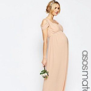 ASOS Blush Pink Maternity Cold Shoulder Maxi Dress